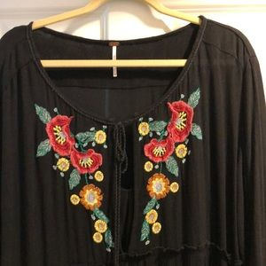 Free People embroidered tunic dress w/slip